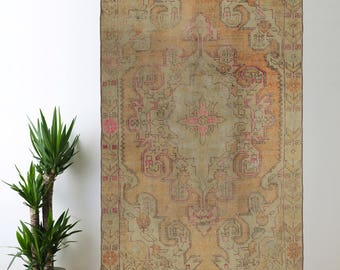 Faded Turkish Rug Oushak Decorative Handwoven Rug Turkish Antique Rug 4.1 ft x 6.8 ft F-04