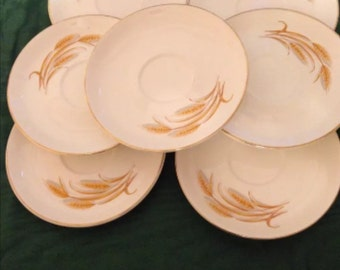 1950's Homer Laughlin Golden Wheat Saucers