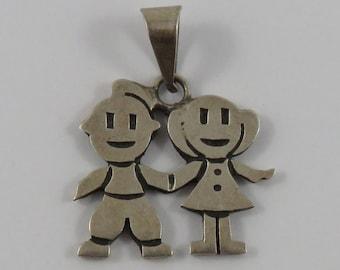 Couple Holding Hands Sterling Silver Vintage Charm For Bracelet