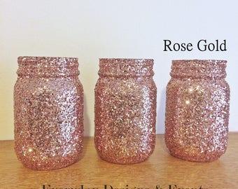 rose gold mason jars, mason jar centerpiece, rose gold decor, rose gold wedding, wedding centerpiece, gold wedding decorations, party decor