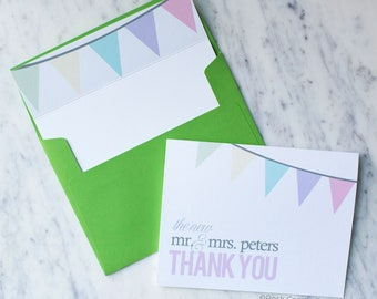 FREE SHIPPING Free Personalization Banner Card Set | Thank You Cards | Note Card Set | Bridal Shower Thank You | Mr & Mrs Cards | New Mr Mrs