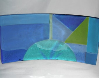 Sunset in Blue, fused glass tray