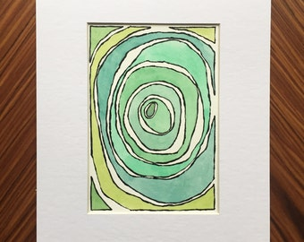 Green abstract watercolor, abstract painting, watercolor painting, small painting, home decor, abstract art, small art, green watercolor art
