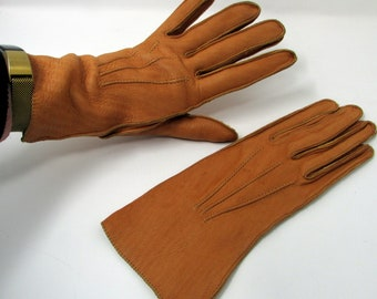 Vintage Kid Leather Gloves Camel Brown Kid Leather Size 7 Ladies Leather Gloves