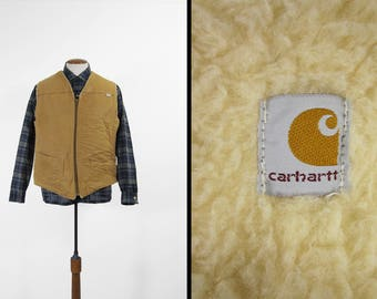 Vintage Carhartt Vest Duck Canvas Brown Workwear Sherpa Lined Made in USA - Large