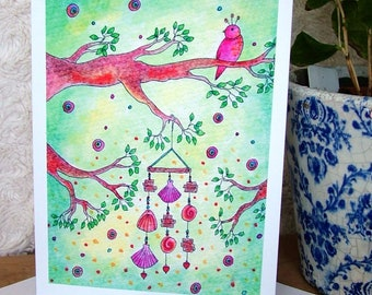 Bird and Wind Chime Greeting Card, Blank Card, Note Card, Bird Art, Greeting Card, Colourful Card, Quirky Card, All Occasions Greeting Card