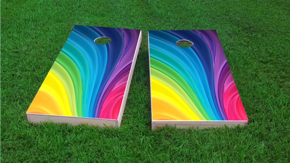 Rainbow Theme 2x4 Cornhole Board Set With Bags Custom Corn