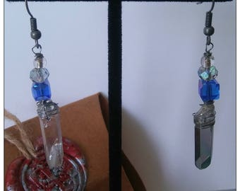 Hanging wire wrapped crystal earrings