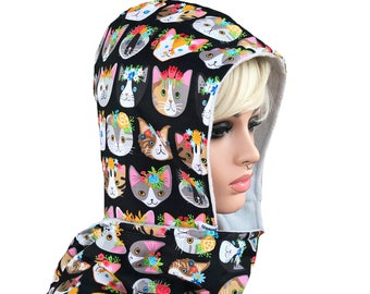 Scoodie - Hooded Scarf- Cats, Kitty with flowers