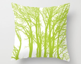 Modern Trees pillow with insert Cover - Green - Woodland Trees Forest Decorative pillow with insert - Rustic Home Decor - By Aldari Home