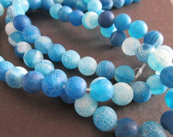 blue dragon veins agate round 8 mm 10 beads