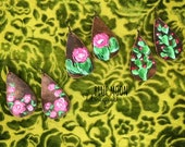 Hand Painted Leather Earrings - Cactus Earrings - Floral Rose Earrings - Authentic Cow Hide Leather