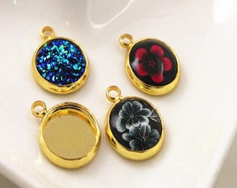5 supports, brass gold cabochon 16mm