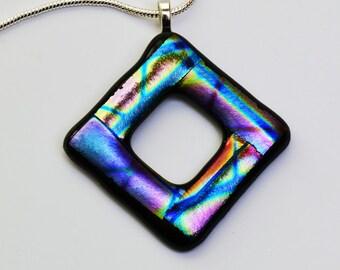 Dichroic Glass Pendant Violet Blue Gold Necklace