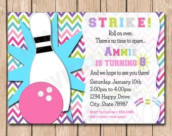 Bowling Birthday Invitation   Girl - 1.00 each printed