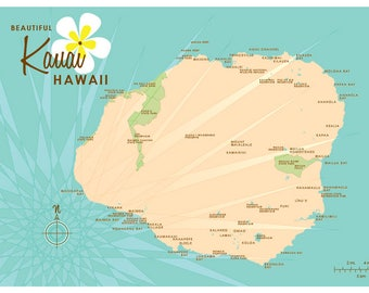 Kauai, HI Map Print (Turquoise)