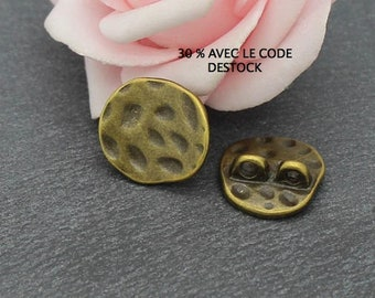 10 round connectors irregular and hammered bronze 16.5x15 COB213 mm