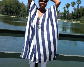Blue / White Stripe Rayon Caftan, Deep Scoop Maxi Dress, Semi Sheer Blue / White Stripe Beach Cover Up / Lounge / Resort Wear ~ One Size