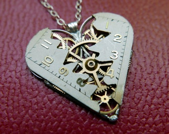 "Reconstructed Watch Dial Heart Necklace ""North"" Elegant Pendant Clockwork Mechanical Gear Love Gift Wife Girlfriend Birthday Gift"