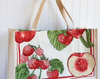 Summer Fruits Farmers Market Bag - Large Tote Bag - Strawberry - Cherry - Raspberry - Shopping Bag