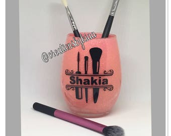 Makeup brush holder- personalized