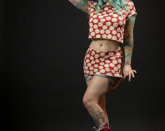 Raspberry and Cream Polka Dot Skirt and Top