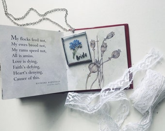 Bride dainty necklace, Real forget-me-not necklace, Something blue, Wedding necklace, Personalized necklace, Custom word jewelry, Flower