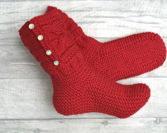 Christmas Wool Socks - Women Wool Socks - Wool Socks - Christmas Socks - Woman Christmas Gift - Hand Knitted Socks - Winter Socks - Socks