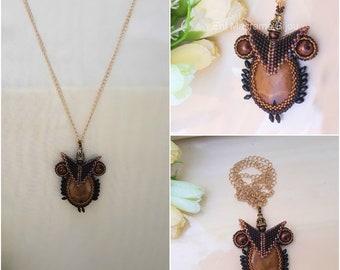 Teacher Gift Smart Owl Necklace Handmade beaded Jewelry Brown Large Pendant Animal Smart Bird Power Gold appreciation Clever Mentor Symbol
