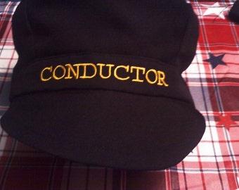 black CONDUCTOR train hats for boys, black train hat for boys, thomas the tank train conductor hat, train hats