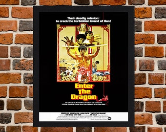 Framed Enter the Dragon Bruce Lee Action Movie / Film Poster A3 Size Mounted In Black Or White Frame