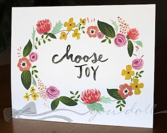 Choose Joy - Floral Wreath Print