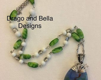 Wire wrapped abstract glass focal necklace