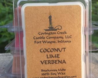 Coconut Lime Verbena 3 or 6 once Soy Breakaway Melt