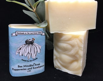 Bee Mindful Peppermint Soap, Peppermint Eucalyptus Vegan Soap. Peppermint Eucalyptus Soap, Bee Mindful Peppermint Eucalyptus Soap