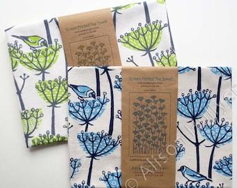 Tea Towel - Goldfinch screen-printed (blue, brown or green)