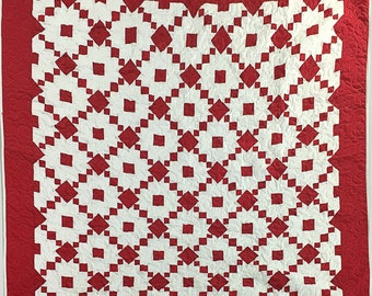 Red and White Single Irish Chain variation - Bold Graphic look FINISHED QUILT