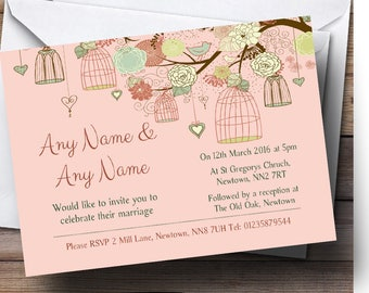 Vintage Shabby Chic Birdcage Coral Personalised Wedding Invitations
