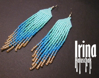 Fringe earrings,Beaded earrings, seed bead earrings, modern earrings, boho earrings, beadwork jewelry gradation from turquoise to ligyt gold