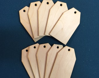 10 x Wooden Key Pendant Gift Price Tags Blank Craft Ready to Paint and Decorate