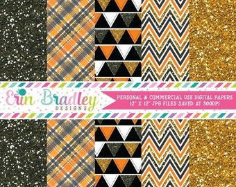 80% OFF SALE Halloween Glitter Digital Paper Pack in Black and Orange Chevron Stripes Plaid Triangle Bunting and Glitter Patterns