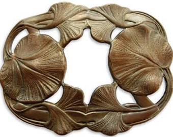 DISCONTINUED Vintaj Antiqued Brass Maidenhair Leaves Ginko Pendant Focal Brass Ox Vintage Style 68 x 35mm Qty 1