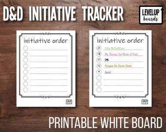 D&D Initiative Tracker (Modern) | DM Combat Order | Printable | Dry Erase Board | White Board
