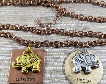 "A Rumi inspired  ""Wisdom and Peace"" Charm Necklace"