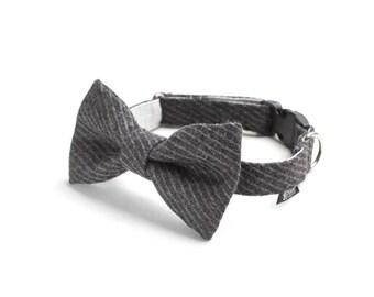 Dog Bow Tie - Grey Seersucker Tweed