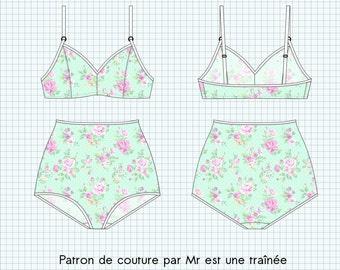"Sewing pattern lingerie PDF, ""Jayne"", pants high waist and BRA, XS to XL"