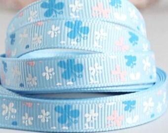 4.5 yards Ribbon grosgrain 10 ❉ BUTTERFLIES blue ❉
