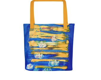 The Waterlilies and The Rising Sun Tote bag (15 x 15 inches). Custom digital art print.