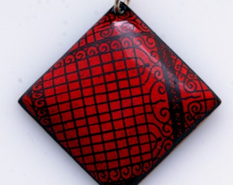 "Red Enameled Ironwork inspired Diamond Pendant on 16"" Sterling Silver chain."