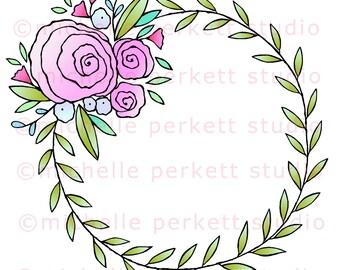 Printable downloadable paper crafting  scrap booking coloring page floral wreath spring roses digital stamp image